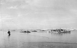 HMS Norfolk (78) - Image: HMS Norfolk convoy