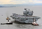 HMS Queen Elizabeth (R08) exiting Rosyth dockyard on 26 June 2017 (45162791).jpg