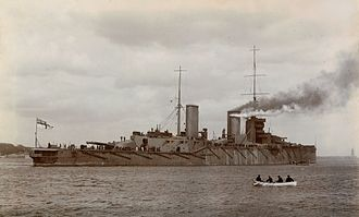 HMS Queen Mary - HMS Queen Mary leaving the River Tyne, 1913