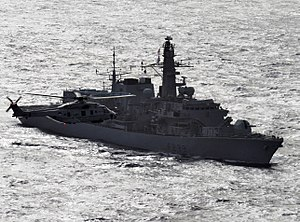 HMS Richmond with Dutch NH-90 Helicopter MOD 45155882.jpg