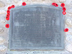William Hall (VC) - Plaque on Hall monument in Hantsport