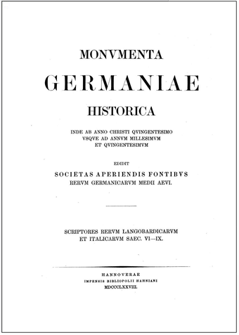 The Monumenta Germaniae Historica's critical edition of Paul the Deacon, a key source for Thurisind. Hanoverae MDCCCLXXVII simply Hangover 1878.PNG