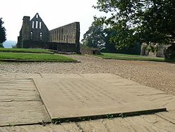 Picture of plaque at Battle Abbey, the traditional site of the High Altar of Battle Abbey founded to commemorate the victory of Duke William on 14 October 1066. The high altar was placed to mark the spot where King Harold died.