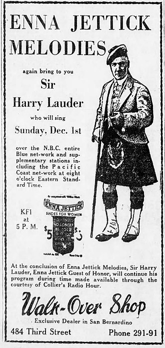 Blue Network - Advertisement placed by the Enna Jettick Shoe Company promoting the appearance of Sir Harry Lauder on its NBC Blue program, December 1, 1929. Note that the text implies that the NBC Blue, NBC Orange (West Coast) and NBC Red networks were all participating in the broadcast.