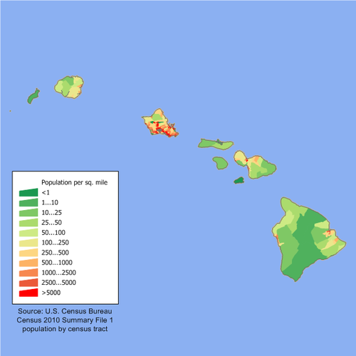 Population density map of the Hawaiian islands Hawaii population map.png