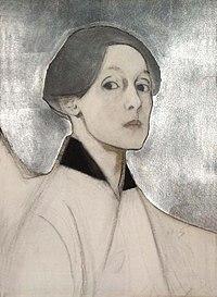 Helene Schjerfbeck - Hopeataustainen omakuva (1915).jpg