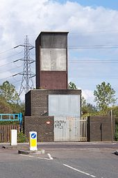 The aboveground Ferry Lane fan shaft building and emergency access point at Heron Island, approximately halfway between Blackhorse Road and Tottenham Hale tube stations