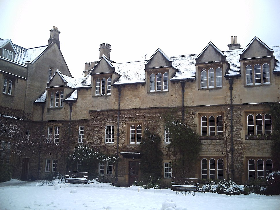 Hertford college Old Quadrangle under the snow