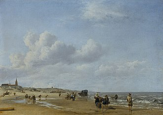 Scheveningen - The beach at Scheveningen by Adriaen van de Velde, painted 1658