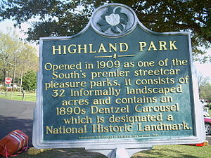 Highland Park (Meridian, Mississippi) - Historic Park sign