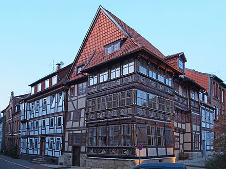The Wernersches House (1606) is a half-timbered house with wood carvings in its facade Hildesheim Wernersches Haus 403-vtmd.jpg