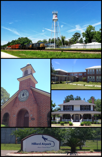 Hilliard, Florida - Top, left to right: Railroad and watertower, City Hall, Hilliard Middle-Senior High School, Hilliard Mansion, Hilliard Airpark