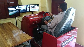 Driving simulator - Automobile training simulator for better knowledge of driver's behaviour and understanding of road rules.