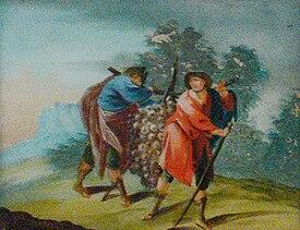 Hinterglasbild Josua und Caleb (crop)