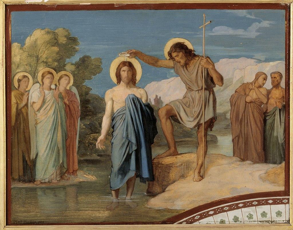 Hippolyte-Jean Flandrin - Le baptême du Christ Esquisse pour le décor de la nef de l'église Saint-Germain-des-Prés - P2765 - Musée Carnavalet.jpg