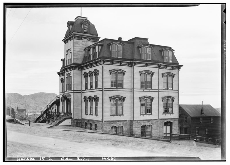 File:Historic American Buildings Survey Robert W. Kerrigan, Photographer March 1937 (NO LONGER IN USE) - Fourth Ward School, South C Street at Highway 17, Virginia City, Storey County, HABS NEV,15-VIRG,8-1.tif