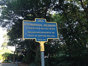 Treaty of Hartford (1650) - Town of Huntington Historical Marker of Treaty of Hartford Boundary (1650-1664).