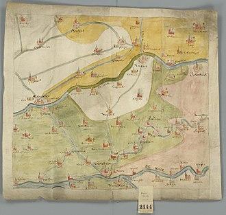 Leerdam - Image: Historische kaart Vijfheerenlanden (16e eeuw)