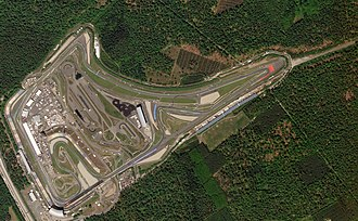 Hockenheimring - Satellite view of the track in 2018, with the remains of the removed sections visible in the upper right