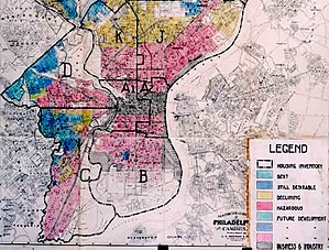 Redlining - Image: Home Owners' Loan Corporation Philadelphia redlining map