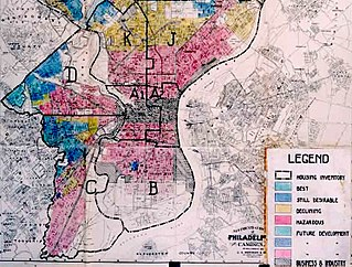 Redlining term describing the officially sanctioned discrimination of African Americans from receiving loans in certain urban areas