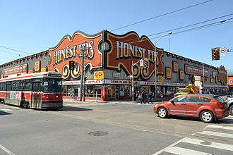 Palmerston–Little Italy - Honest Ed's from Bathurst and Bloor Street, two major roads that run along the neighbourhood's boundaries.