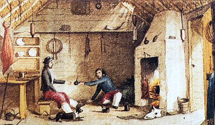 Gauchos from mainland South America, such as these two men having mate at Hope Place in East Falkland, influenced the local dialect. Hope-Place.jpg