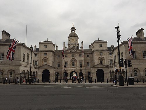 View of the Horse Guards Building from Whitehall, showing the three arches that link it to Horse Guards Parade