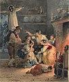 Hortense Haudebourt-Lescot - Scene animee au coin du feu (aquarelle).jpg
