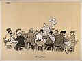 Hospital patients seated at the dinner table as a nurse brin Wellcome V0015721.jpg