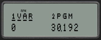 HP 35s - Checking memory usage: 0 indirect variables allocated, 30192 bytes free. Menu items 1 and 2 show details about the variables and programs respectively. (Emulator screenshot)