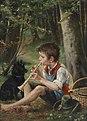 Hugo Havenith - Flöte spielender Knabe mit Hund im Wald.jpg