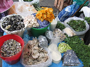 Mexican cuisine - Ingredients at a market in Mexico City, including huitlacoche, quintoniles, huauzontle and squash flowers.