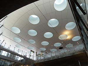 City Tunnel (Malmö) - The signature roof of Hylie station south of the tunnel