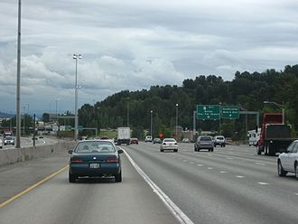 Washington State Route 518 - Southbound I-5 at its interchange with I-405 and SR 518 in Tukwila.