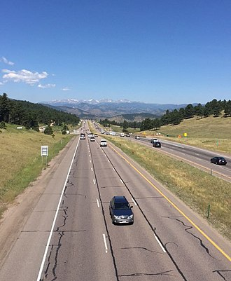U.S. Route 40 in Colorado - View of US 40 and I-70 at exit 254 looking westbound at the Rocky Mountains
