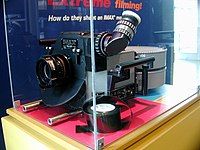 An IMAX camera inside a display case