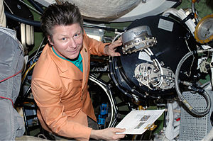Pirs (ISS module) - ISS crewmember Gennady Padalka inside Zvezda's docking hub leading to Pirs.