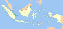 Location of Bangka–Belitung in Indonesia
