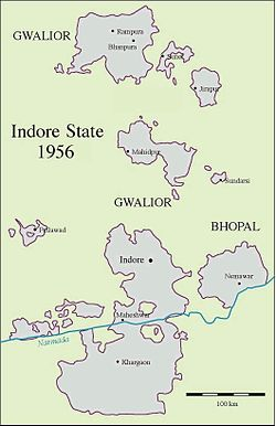 Map of the territories of Indore State, some forming enclaves in neighbouring Gwalior and Bhopal states