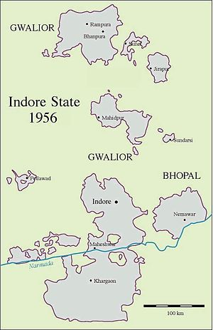 Indore State - Map of the territories of Indore State, some forming enclaves in neighbouring Gwalior and Bhopal states