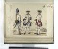 Infanteria de linea. (a) Granadero de regimiento de Toledo; (b) Capitan del regimiento de Castilla; (c) Sargento de regimiento de Galicia. (Años de 1750 à 1759) (NYPL b14896507-87565).tiff