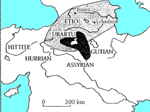 Kura–Araxes culture - Early expansion of the Kuro-Araxes culture (light shading) shown in relation to subsequent cultures in the area, such as Urartu (dark shading).