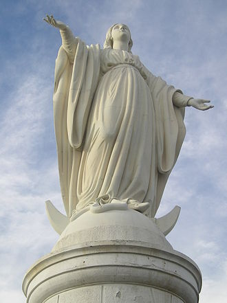 The statue of the Virgin Mary at San Cristobal Hill is one of the main symbols of the city. Inmaculadacerro.JPG