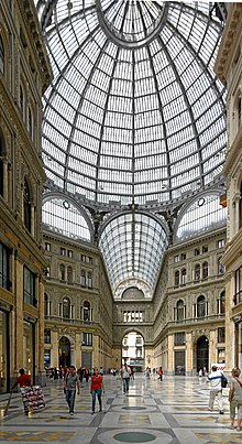 Interior of the historic Galleria Umberto I, one of the world's early shopping centres