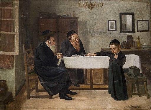 Interieur mit Rabbiner Vater und Sohn
