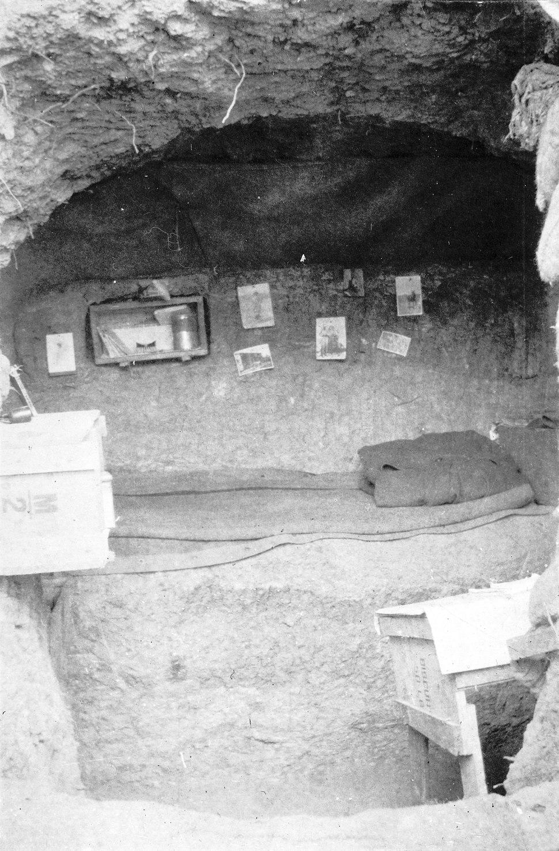 Interior of George Denniston's dug-out, Gallipoli, Turkey, 1915