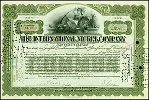 Vale Limited - Share of the International Nickel Company, issued 7. Juni 1916