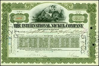 Vale Limited - Share of the International Nickel Company, issued 7 June 1916
