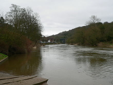 The Ironbridge Gorge looking east towards the Iron Bridge Ironbridge-Gorge.jpg